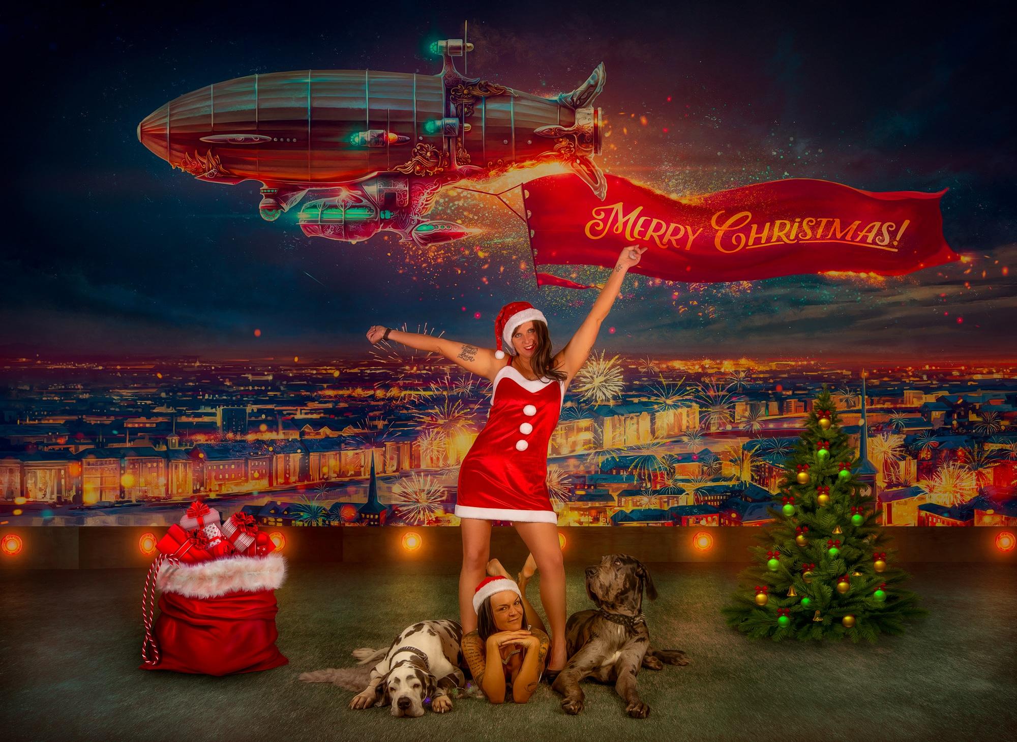 Weihnachtskarten Fotoshooting Hunde