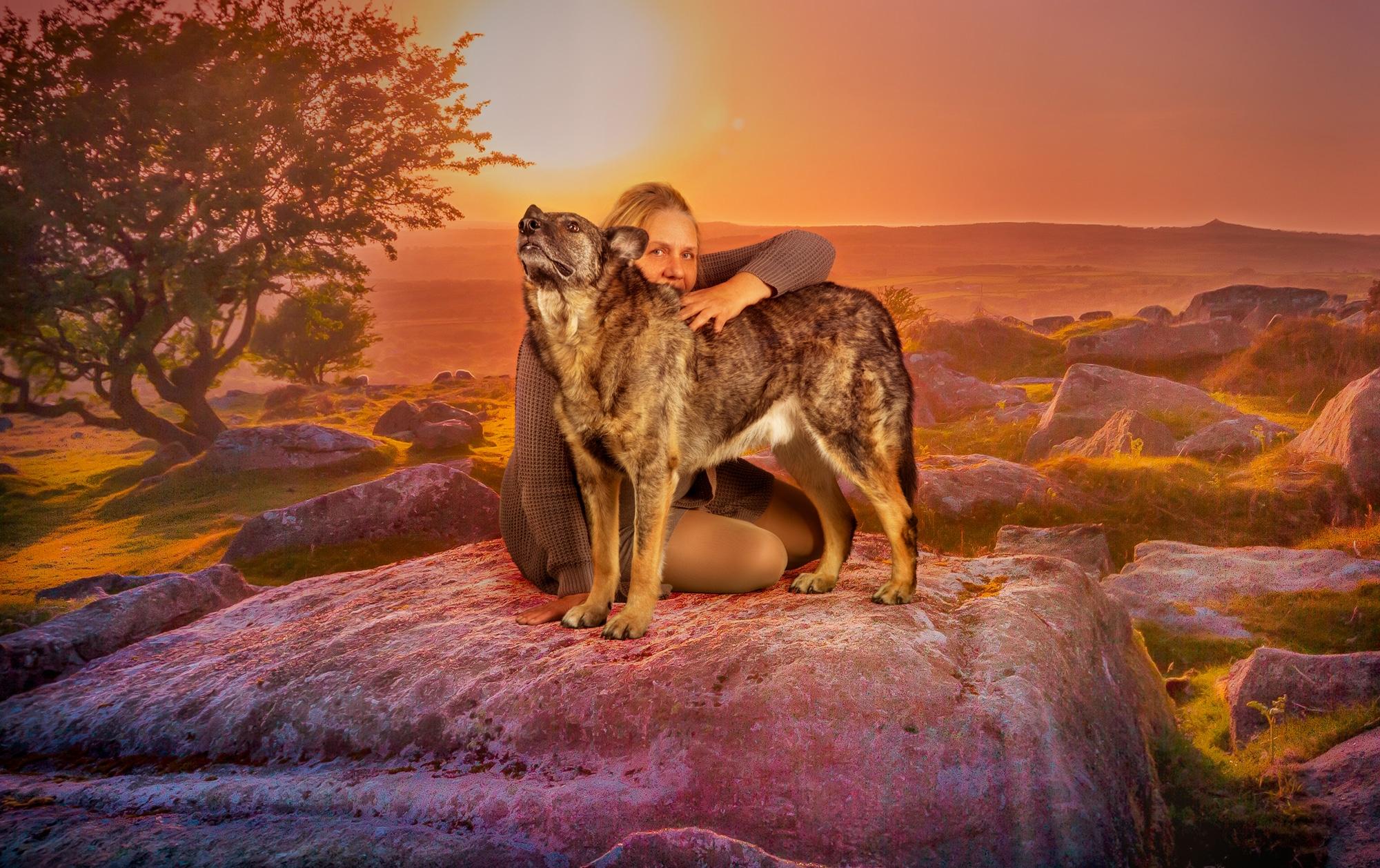 Frau Hund Fotoshooting