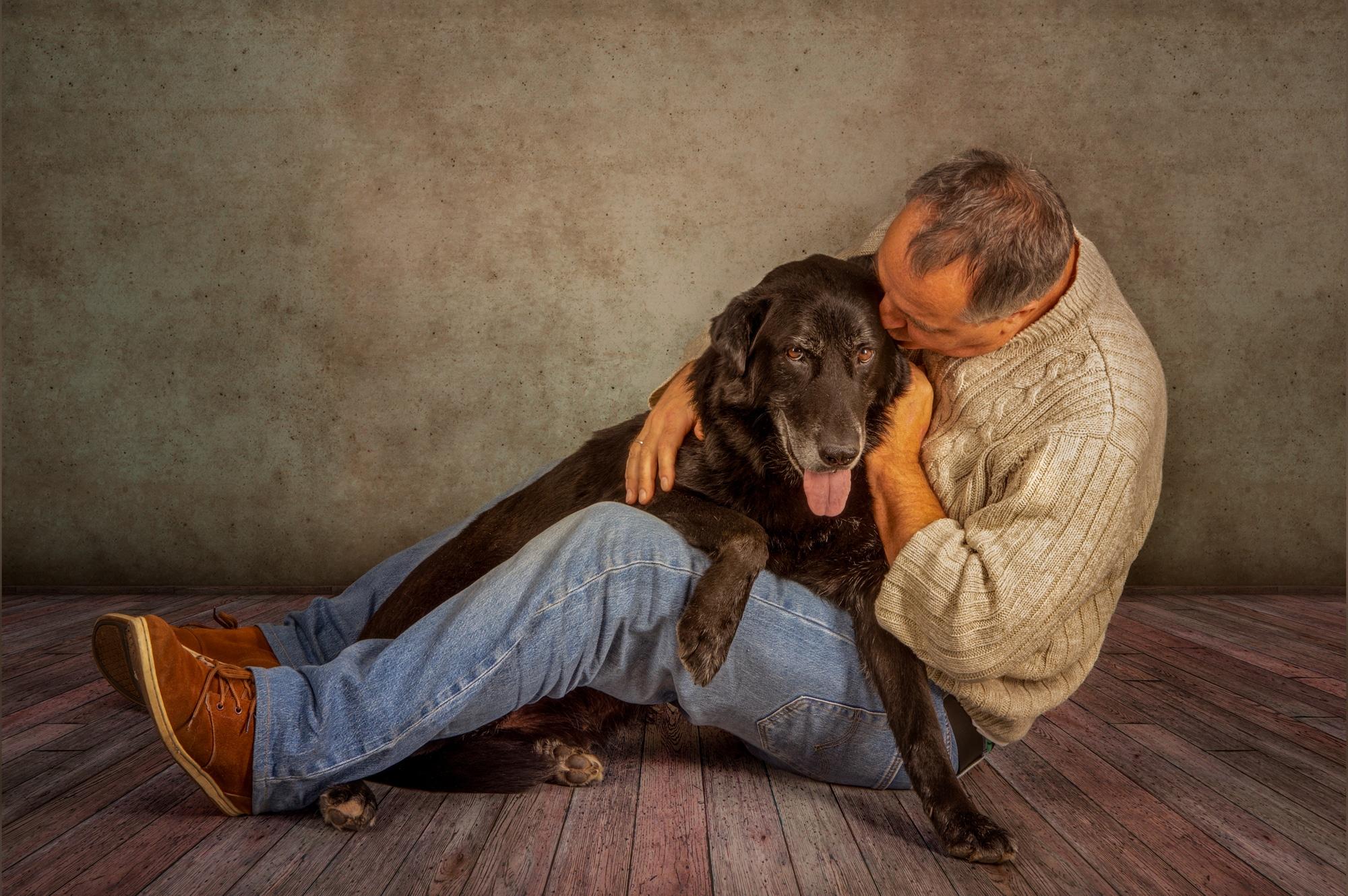 Mann Hund Fotoshooting
